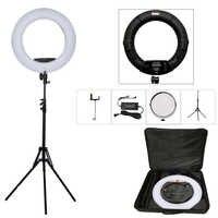 Yidoblo negro FD-480II 18 Studio Dimmable LED Ring conjunto de lámparas 480 LED lámpara de luz de vídeo iluminación fotográfica + soporte (2 M) + bolsa