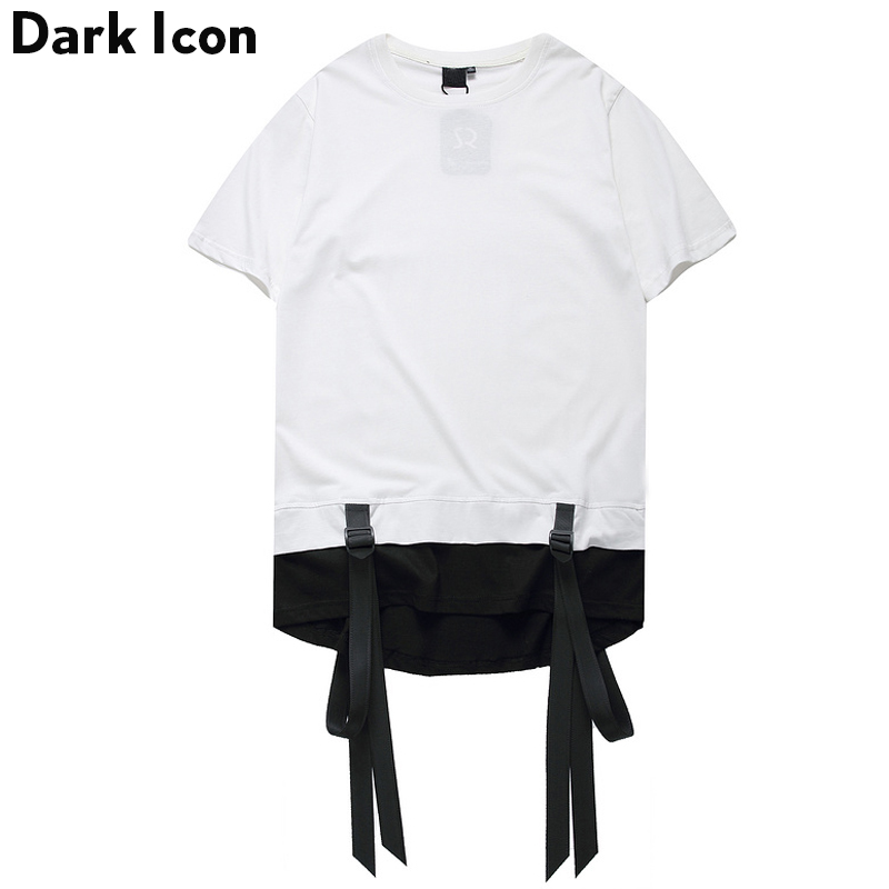 Color Block Ribbon Curved Hem Hiphop T-shirt Short Sleeve 2017 Summer New Fashion Men's Tshirt Casual Tee Shirts 2 Colors
