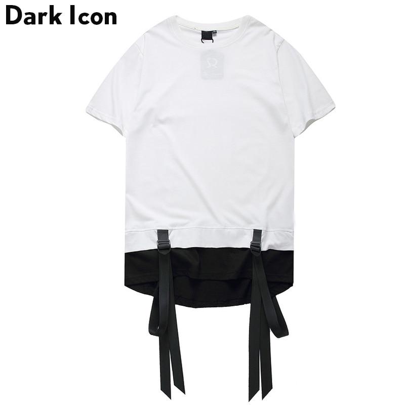 Color Block Ribbon Curved Hem Hiphop T-shirt Short Sleeve 2017 Summer New Fashion Men's Tshirt Casual Tee Shirts 2 Colors