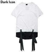 DARK ICON Color Block Ribbon Curved Hem Hiphop T shirt Short Sleeve 2019 Summer New Fashion Men's Tshirt Casual Tee Shirts