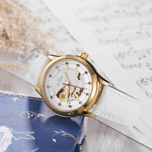 White Skeleton Leather Automatic Mechanical Watches