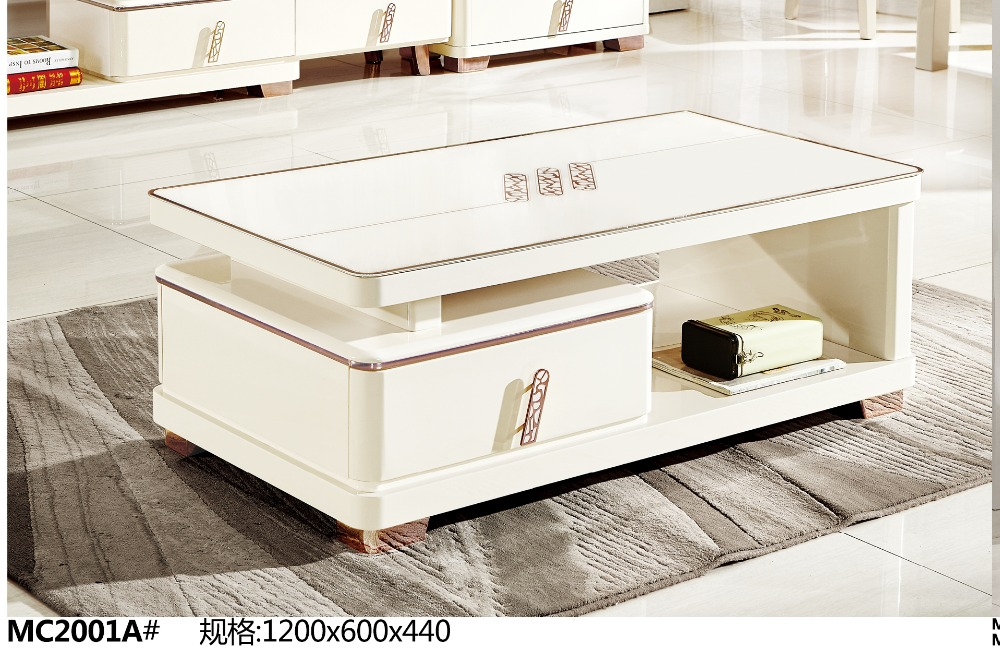 mc2001a modern living room furniture glass top white tea table coffee table simple clear style coffee table