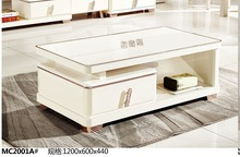 MC2001A Modern living room furniture glass top white tea table coffee table simple clear style coffee