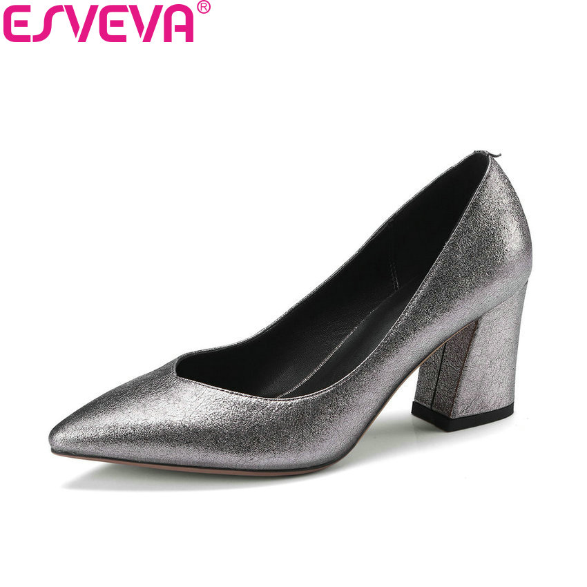 ESVEVA 2018 Women Pumps Elegant Sheepskin PU Slip on Square High Heels Pointed Toe Shallow Wedding Pumps Women Shoes Size 34-42 high quality women shoes colorful rhinestone shallow mouth high heels mature women pumps round toe slip on party wedding shoes