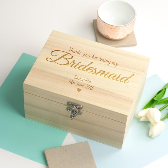 Wedding Party Gift Ideas For Bridesmaids: Personalize Name Text Wooden Wedding Bridesmaid Proposal