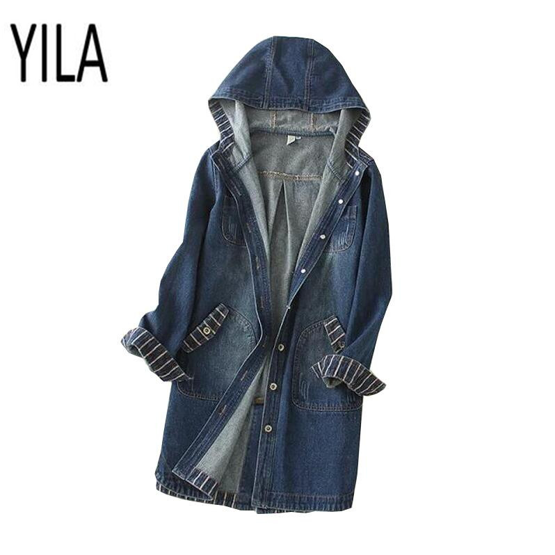YI LA 2018 Spring Autumn New hit color Hooded Denim   Jacket   Long Sleeve Casual jean coat Women   Basic     Jackets   s875