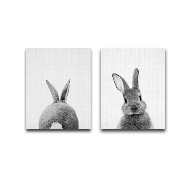 Pack of 2 Unframed Wall Art Canvas Painting Colorful Animal Rabbit Picture Oil on Abstract  for Home Room Decor