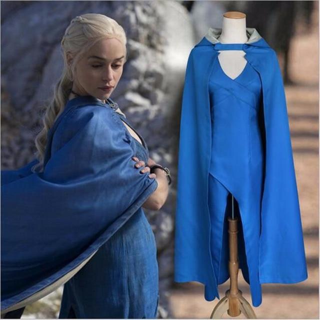 Anime Daenerys Targaryen Cosplay Disfraces Sexy Women Game Of Thrones Costume Partry Dragon Mother Blue Dress Cloak Halloween