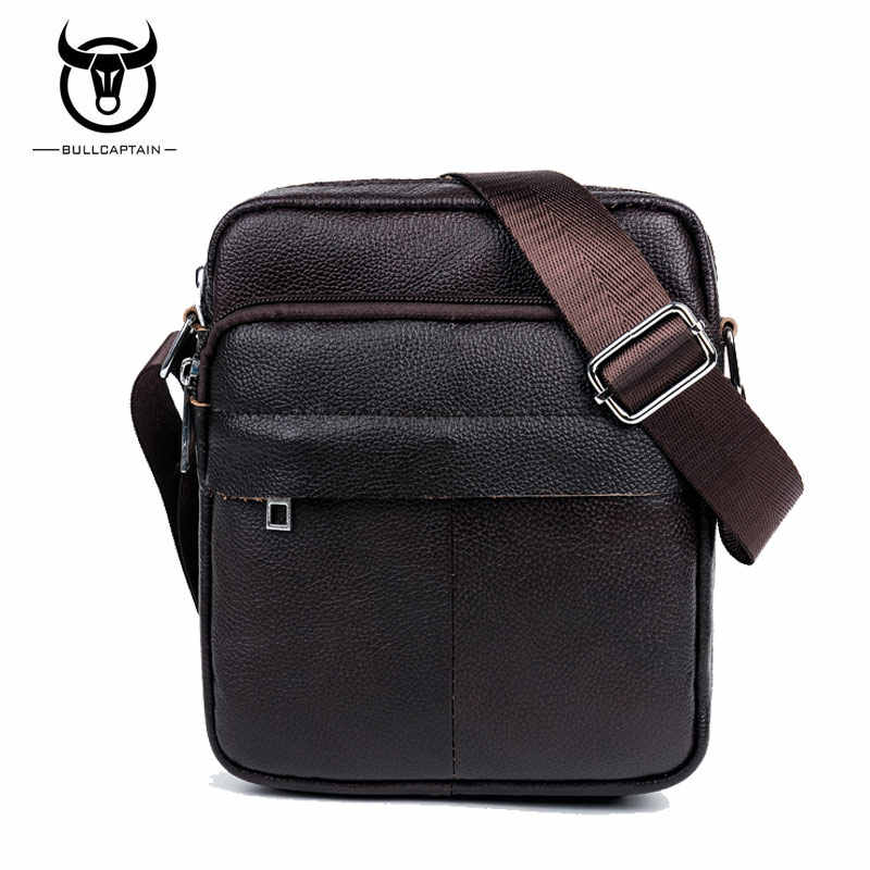BULLCAPTAIN 2018 Fashion Genuine Leather Shoulder bags men business Crossbody  Bags mini Brand casual Male messenger 3a6b4a1dec80d