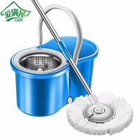 AMW Practical Home Use Magic Floor Cleaning Mop 360 Degree Rolling Spin Self-Wring Fiber Cotton Head Floor Mop Set Drop shipping