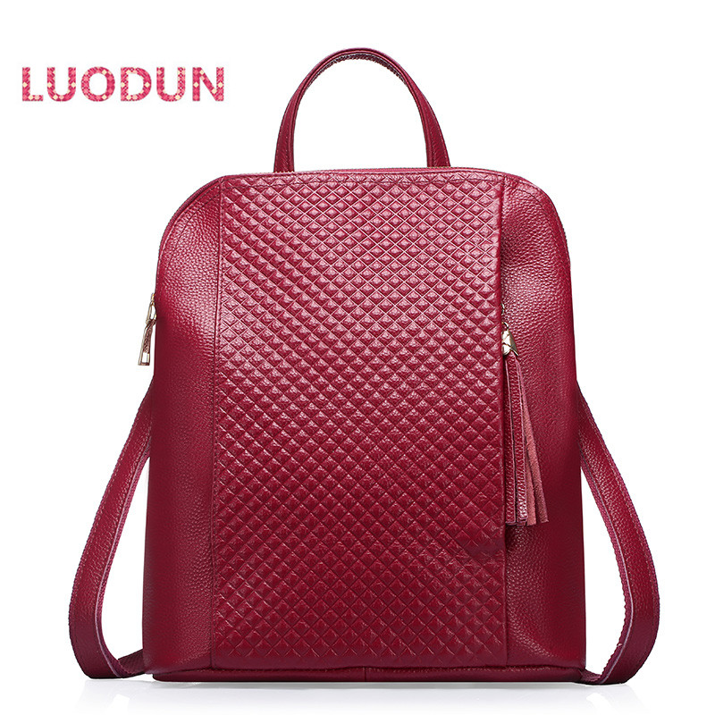 LUODUN 2018 new Genuine Leather backpack dual-use header layer leather ladies bag large-capacity backpack travel bag new safurance welders dual leather