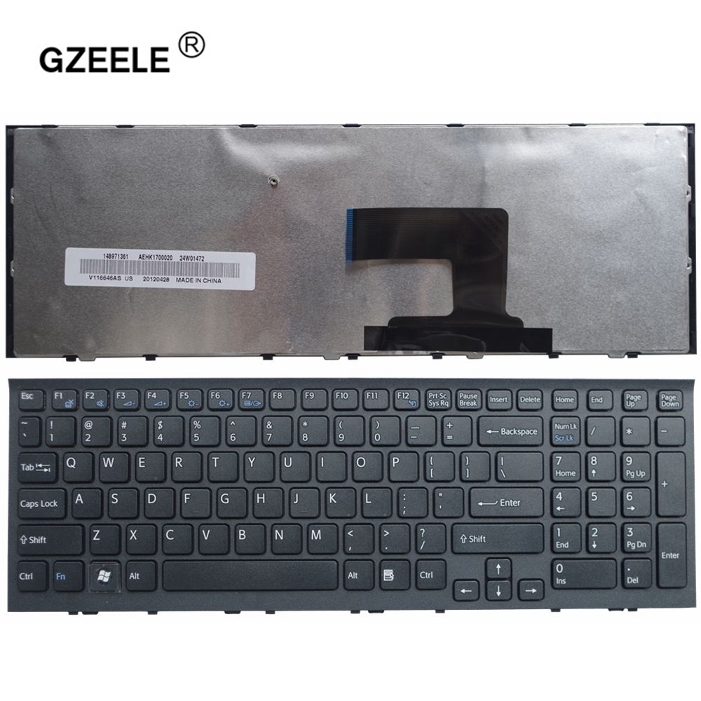 GZEELE New Laptop Keyboard For Sony VPC-EH VPCEH Series Black Frame US Version 148970811 AEHK1U00010 V116646E PCG-71811L English
