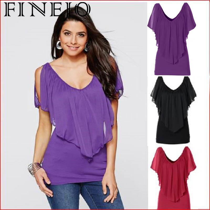 FINEJO FemininaT-  Shirt   Summer 2018 Casual Lady   Blouse     Shirt   Short Women's Sleeve Stylish Patchwork Fashion Slim Chiffon Top