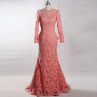 RSE819 Peplum Salmon Colored Long Sleeves Lace Mermaid Dresses For Mother Of The Bride Robe De Soir E Vestido De Madrinha