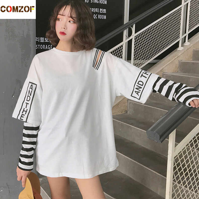 professional design well known 2019 wholesale price Women korean fashion oversized long sleeve t shirt hip hop punk streetwear  girls fake two pieces tees off shoulder tops