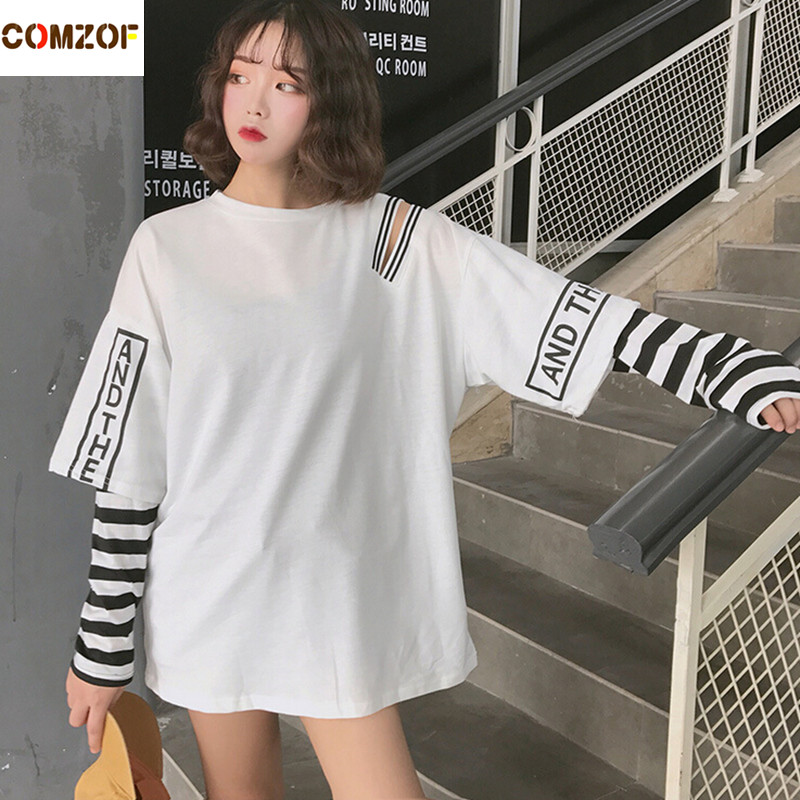 Women korean fashion oversized long sleeve   t     shirt   hip hop punk streetwear girls fake two pieces tees off shoulder tops