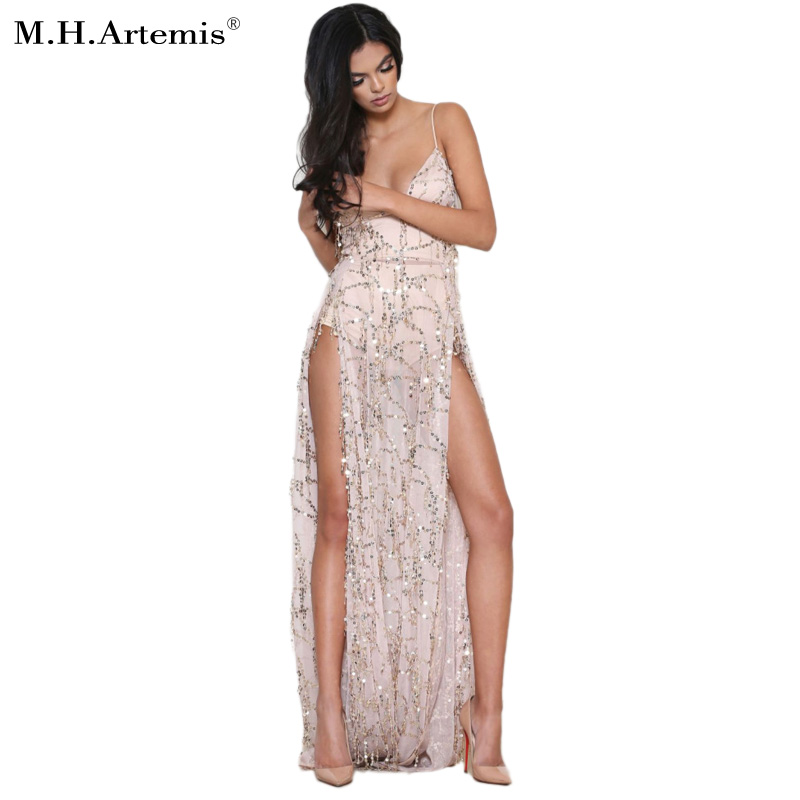 2017 New Style Sexy Sequined Maxi Slit Side Long Dress