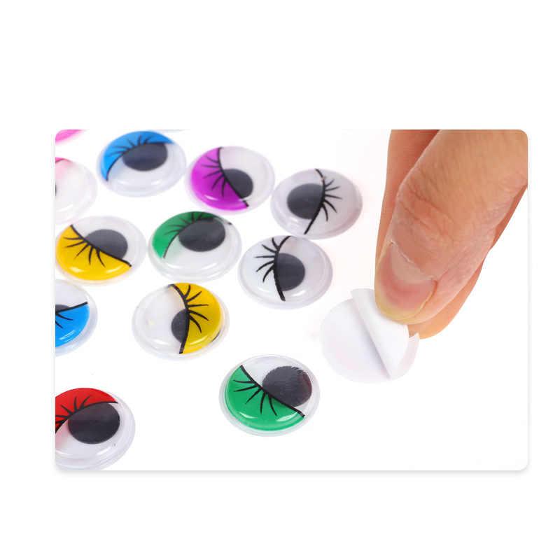 Hareketli kendinden yapışkanlı gözler yaratıcı el DIY kirpik boncuk bağlı siyah beyaz göz kil aksesuarları çocuk el malzeme
