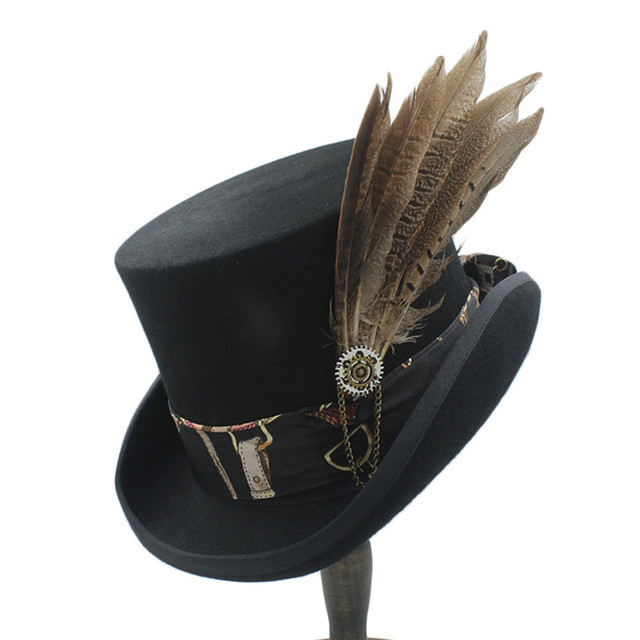 a843dec2cf649c Top 13.5CM Top Women Men Steampunk Top Hat With Handmade Leather Wool  Fedoras Hat / Cylinder Hat/ Chimne 4Size