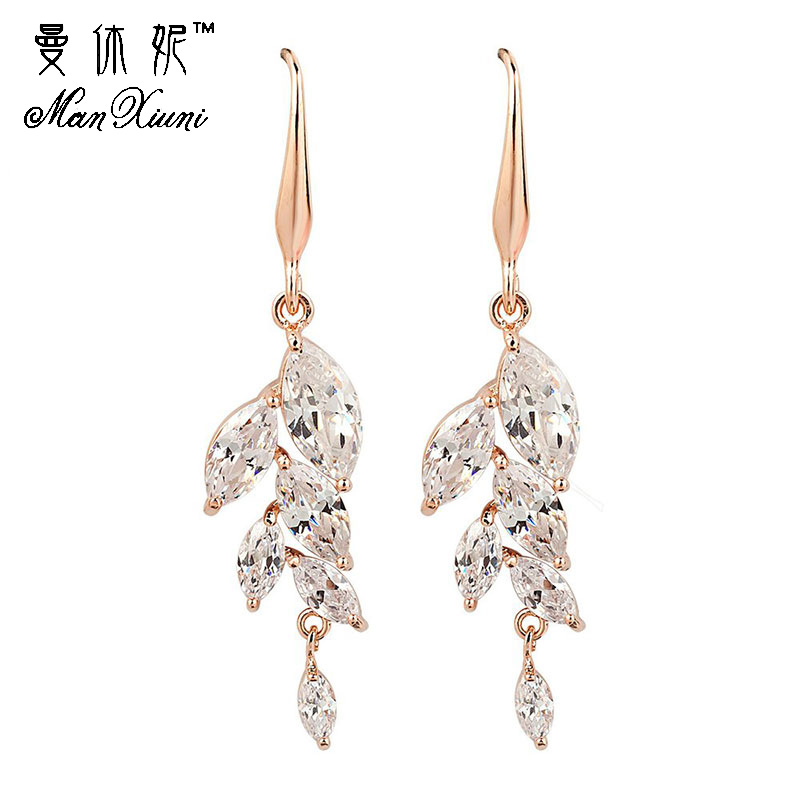 Gullig Drop Long Earring Guldfärgad Cubic Zirconia Leaf Dangle Örhängen Sommarstil Fine Smycken Big Pendientes For Women Girls