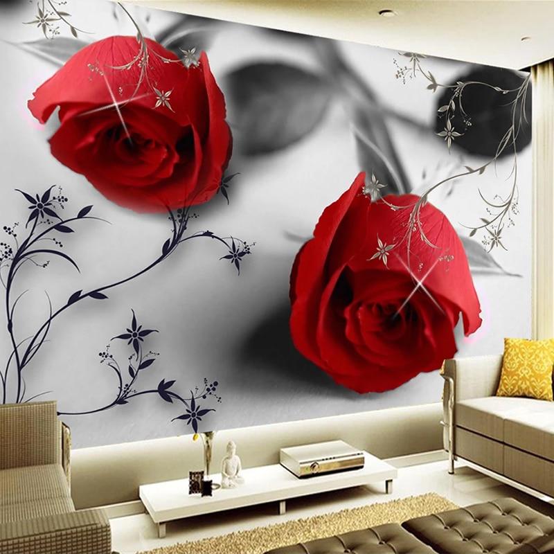 Custom 3D Photo Wallpaper Red Rose Flower Large Mural Art Wall Painting Living Room Bedroom Waterproof Self Adhesive Wallpaper