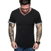 MarKyi 2019 Elastic Mens T-Shirt V-Neck Short Sleeve Men T Shirt Design Collar Summer Casual Tshirt