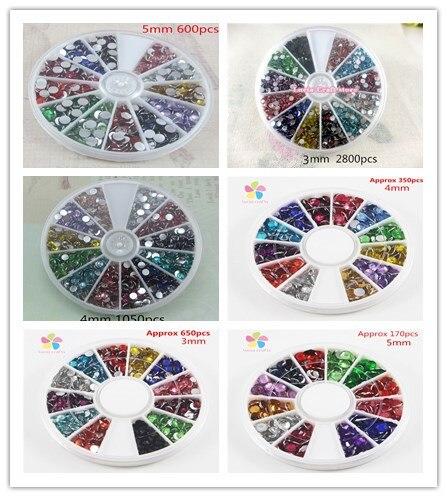 Разные варианты 2 мм/3 мм/4 мм/5 мм смешивания Цвет со стразами и ногтей 007006002