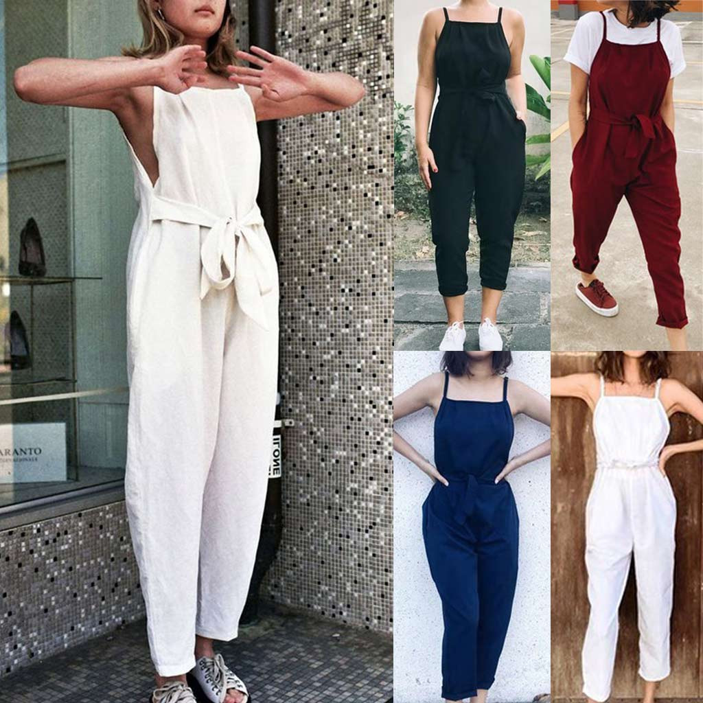Newly  Women Sexy Plus Size Solid Sashes Camis Long Loose Jumpsuit Bodysuit  rompers womens jumpsuit #20