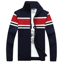2016 Winter Cardigan Men Brand Clothing Cotton Sweater Men Casual Outwear Striped Zipper Military Army A0872