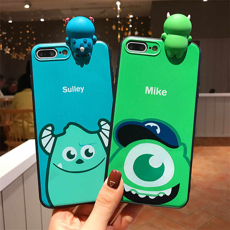 Mike Sulley Monstros bonito Toy Story Dos Desenhos Animados 3D Boneca Macio TPU Caso Capa Para o iphone XS Max XR X 6 7 8 6S Plus Phone Cases Coque