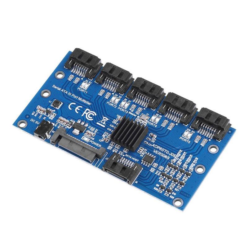 Controlador de tarjeta de placa base SATA Tarjeta de expansión de 1 a 5 Puerto SATA3.0 6 Gbps multiplicador Puerto SATA adaptador para computadora