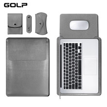 GOLP cuero Universal caja de la manga bolso suave para for Macbook Air Pro Retina 11 12 13 15 para portátil cubierta para for Macbook air 13,3 pulgadas(China)
