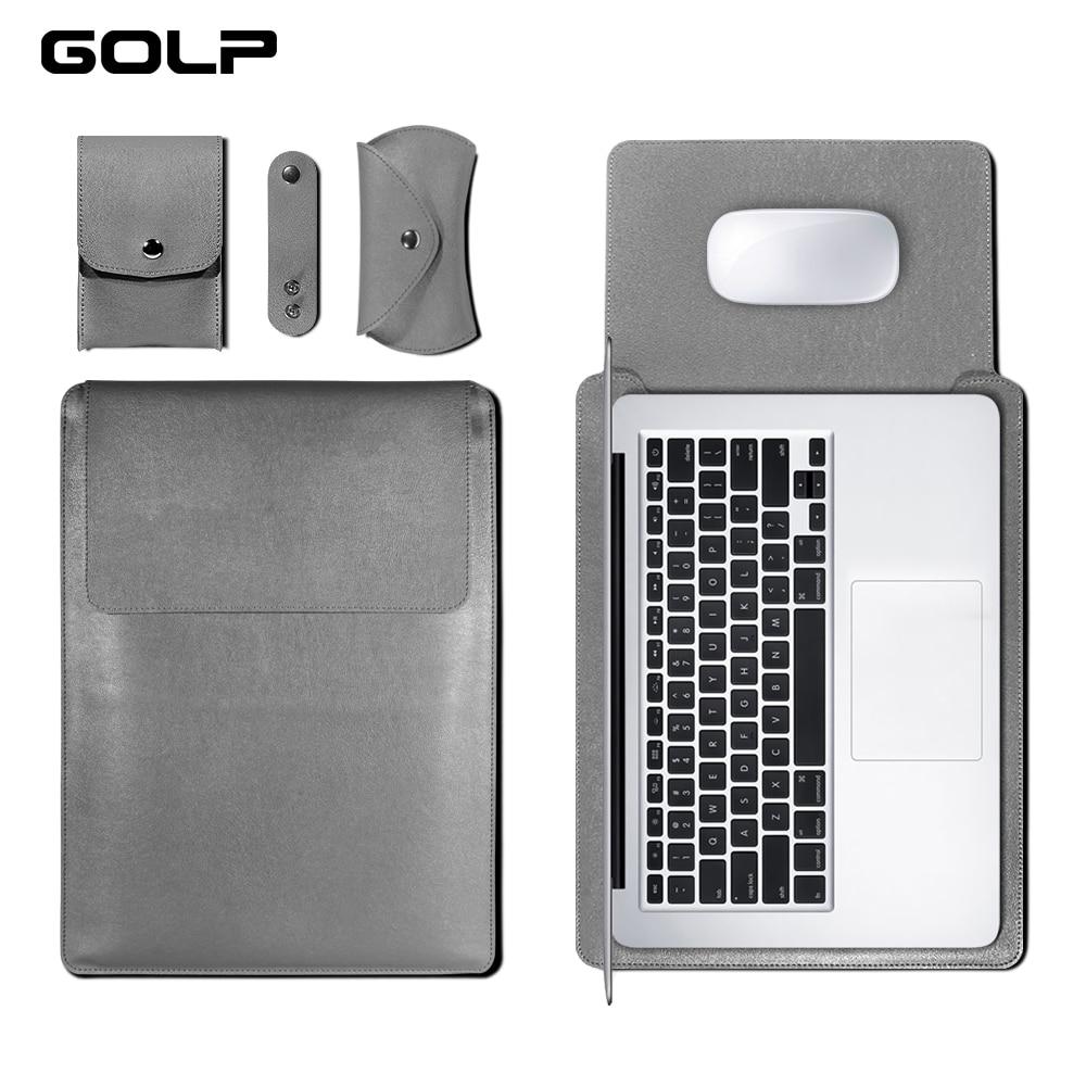 GOLP cuero Universal caja de la manga bolso suave para for Macbook Air Pro Retina 11 12 13 15 para portátil cubierta para for Macbook air 13,3 pulgadas