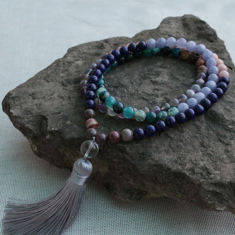 8mm Amethyst, Aquamarine, Sun Stone, Opal, Lapis Lazuli Mala Beads Necklace,108 Bead Mala, Mala Jewelry, Mala Prayer Beads
