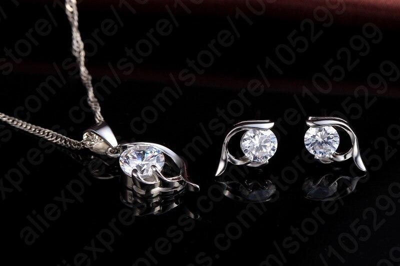Блестящие женские украшения из стерлингового серебра 925 пробы, серьги с подвеской из кубического циркония, Женский комплект для свадьбы и п...