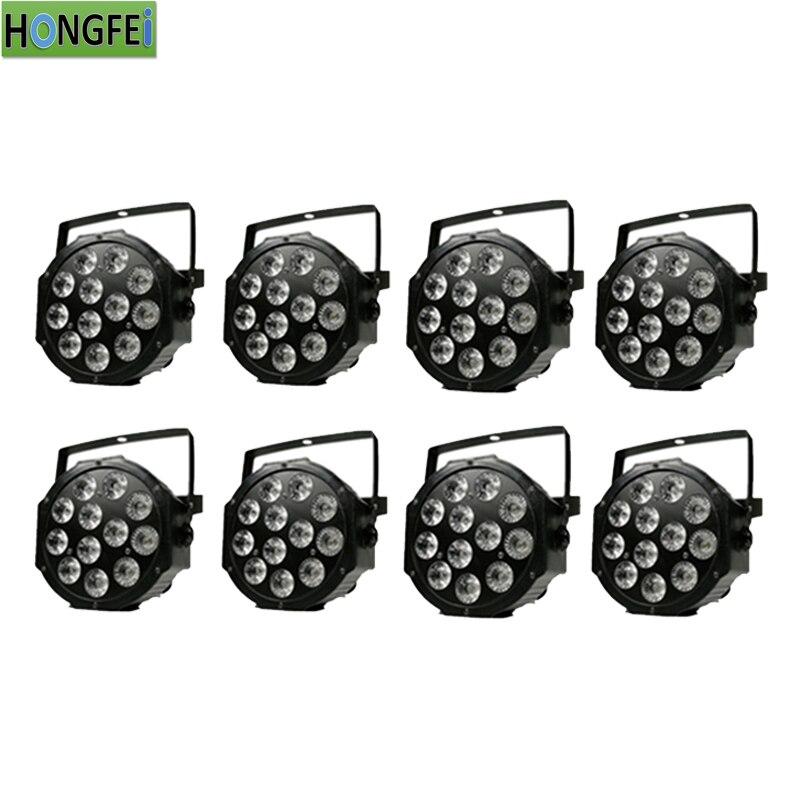 8pcs 12x12w led par light rgbw 4in1 led par falt par dmx professional stage lighting equipment