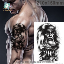21X15cm Big Tattoo Sticker Vintage The Old Man And The Sea Designs Temporary Tattoo For Back Body Car Styling