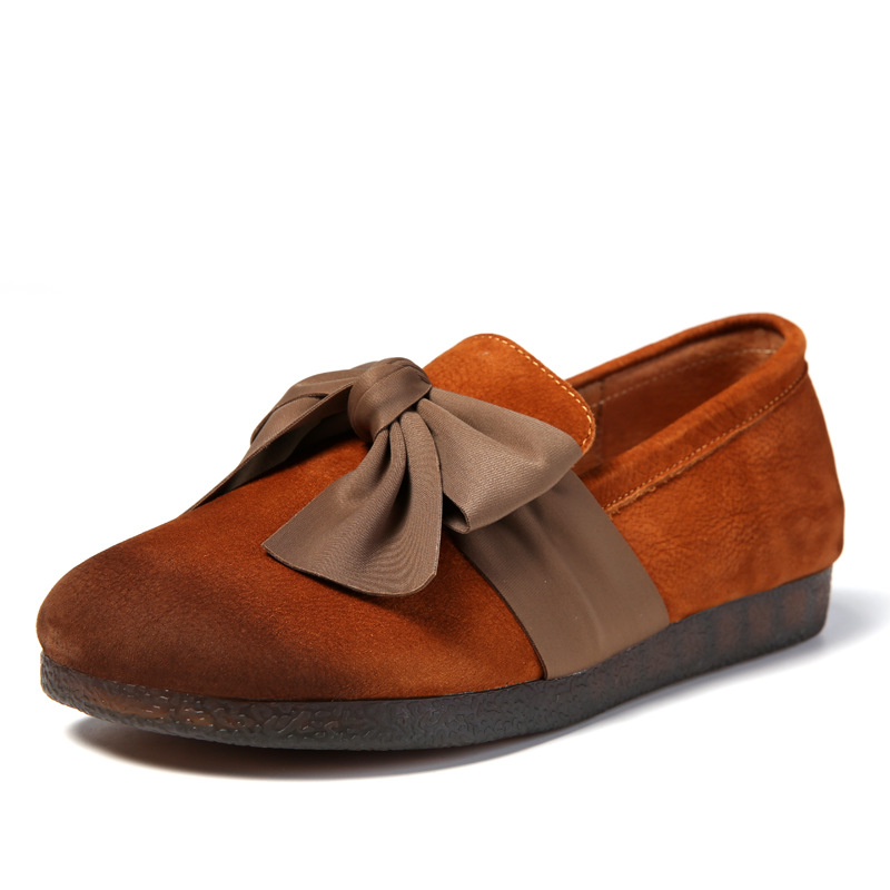 Retro Mocasines brown Suave A Zapatos Primavera Mano Genuino Coffee Las Cuero Tacón De Bajo Mujeres Planos Fondo Bowknot 2019 Marca Hecho xvqwSPgT