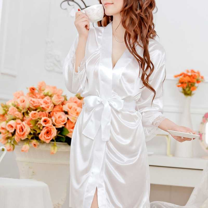 ... Women s Short Kimono Style V-Neck Bathrobe Plain Dressing Gown Bridal  Party Robe ... 5b45acd8b6af