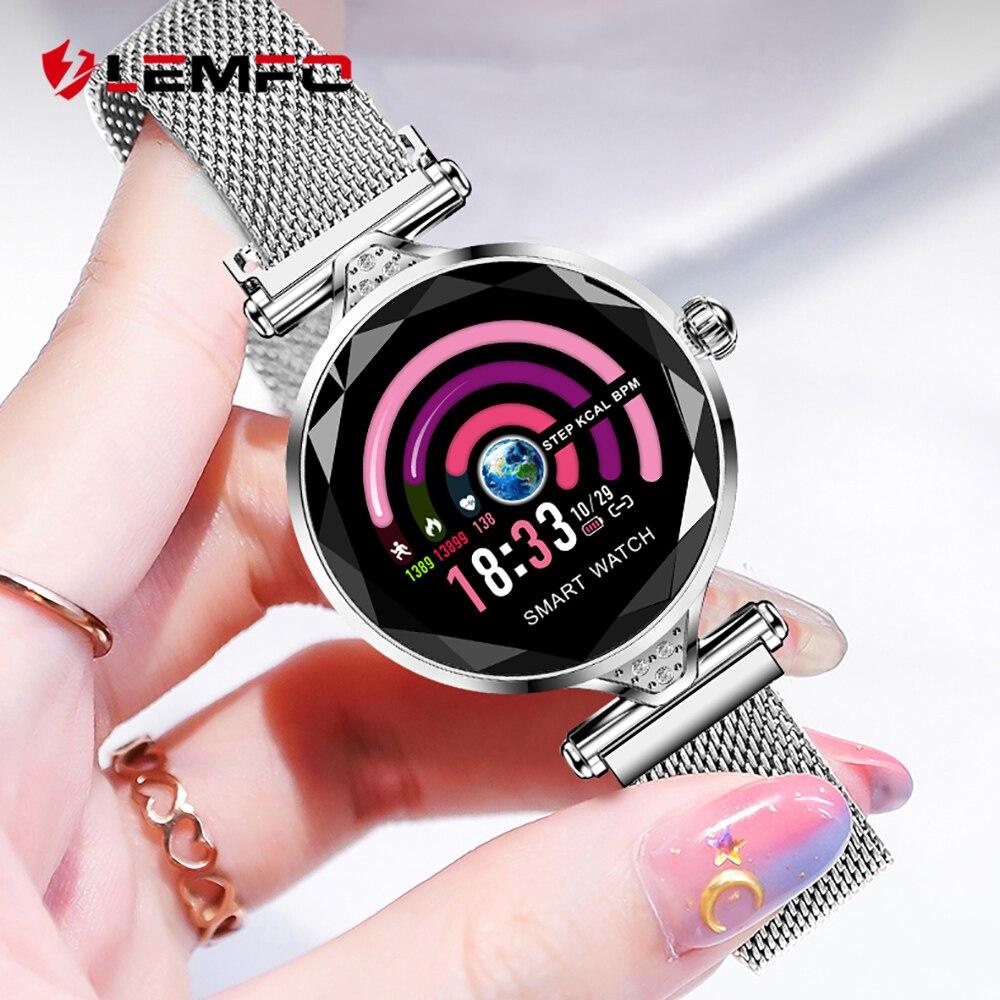 LEMFO 2019 nuevo de lujo reloj inteligente mujer deporte IP67 impermeable Bluetooth para Android IOS Iphone Smartwatch regalo para novia-in Relojes inteligentes from Productos electrónicos    1