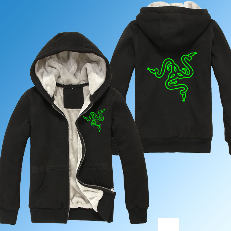 Winter Thicken Razer Print Gaming warm Hoodies sweatshirt winter clothing Men women coat jacket