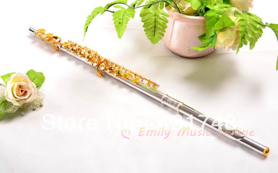 Cupronickel Flute Golden keys Silver plated Body With case EMS free shipping Wind Musical instruments on Sale alto flute g pitch cupronickel body closed holes in line with foambody case musical instrument free shipping