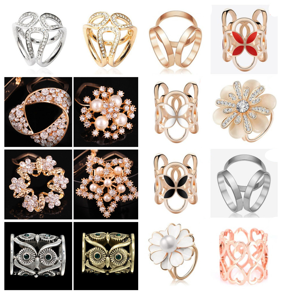 Crystal Pearl Silk Scarf Ring Clip Buckle Holder Brooch Jewellery Party Gift
