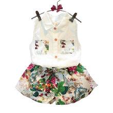 2017 Summer Tsaujia Baby Girls Clothing Set Sleeveless Blouse+ Floral Pants 2pcs/set Kids Cotton Clothes Set 2-8 Years KF990