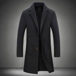 2018 новый осенне-зимний Тренч для мужчин с отложным воротником приталенное пальто для мужчин длинное пальто ветровка 5XL