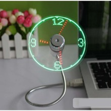 New Fashion USB Gadget Mini Flexible Time Display LED Light USB Fan Time Clock Desktop Clock Cool Gadget