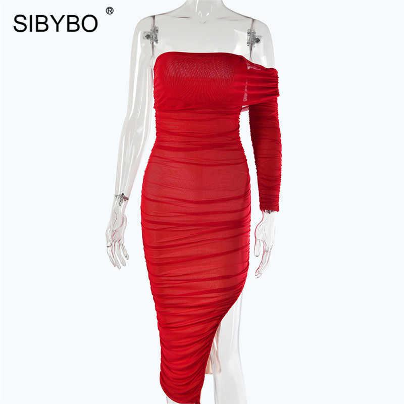 Sibybo Сетчатое пикантное платье с разрезом без бретелек, женское Плиссированное осеннее длинное платье с открытой спиной, Клубное вечернее платье vestidos
