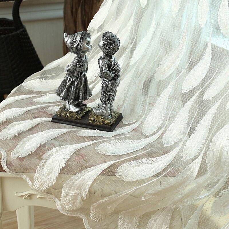 3D plume brodé rideaux Tulle fenêtre rideau luxe plume fil pure rideaux pour salon chambre Cortinas 3*2.6 CM