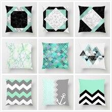 Blue Green Geometric Cushion Cover Marble Texture Throw Pillow Case Cushion Case For Sofa Car Home Decor Pillowcase 45x45cm цены