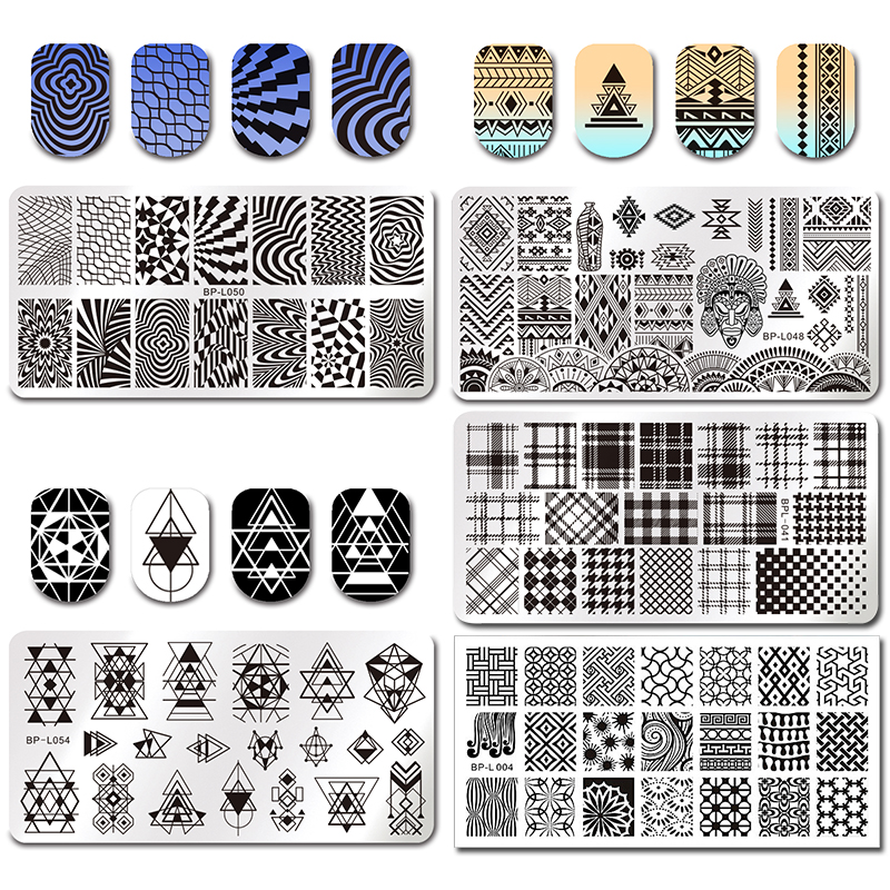 BORN PRETTY Geometry Rectangle Stamp Image Plate Geometric Pattern Nail Art Stamping Template